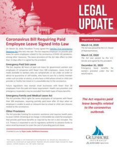 Coronavirus Bill Requiring Paid Employee Leave Signed Into Law