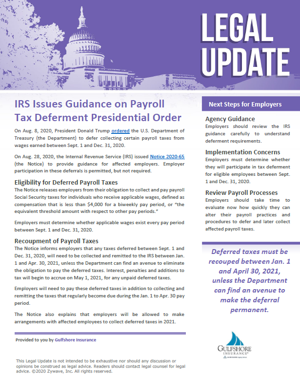 IRS Issues Guidance on Payroll Tax Deferment Presidential Order