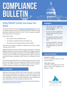 HSA HDHP Limits Increase for 2022